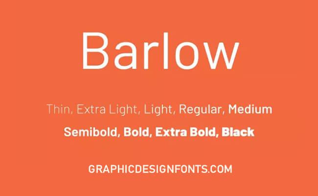 Barlow Font Family Free Download