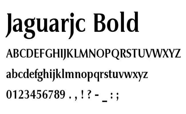Jaguar Logo Font and Jaguar JC Book Bold Font