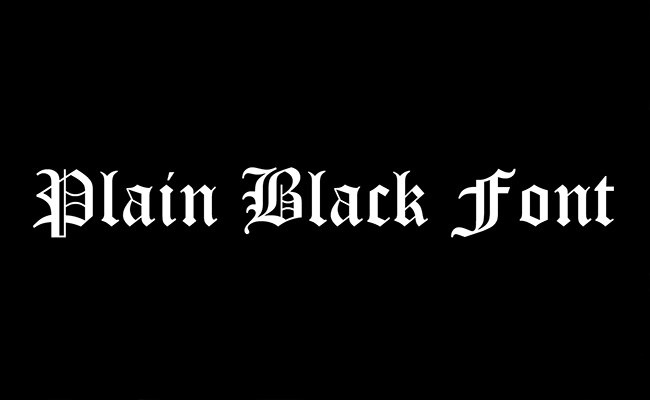 Plain Black Font Family Free Download